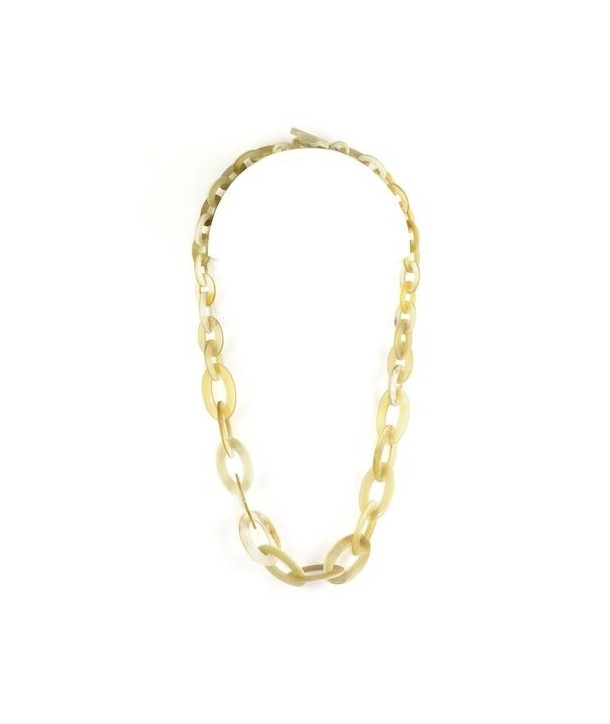 Flat and thin oval rings necklace in blond horn