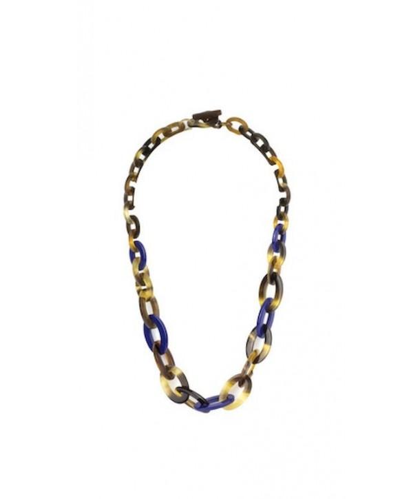 Collier anneaux ovales plats et fins en sabot et laque indigo