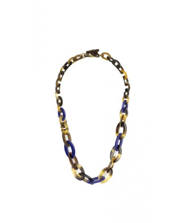 Flat and thin oval rings necklace in hoof and indigo lacquer