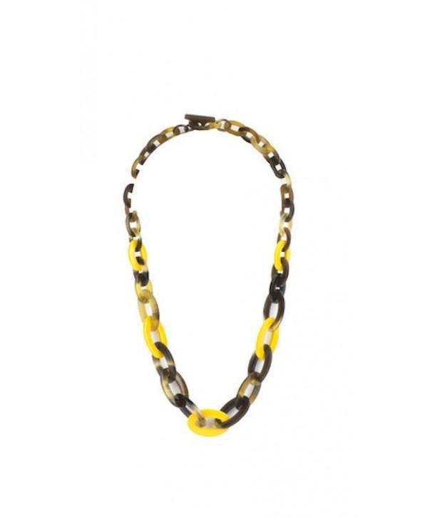 Collier anneaux ovales plats et fins en sabot et laque jaune