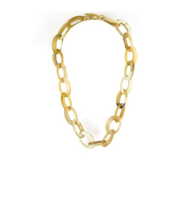 Off-centered oval rings necklace in blond horn