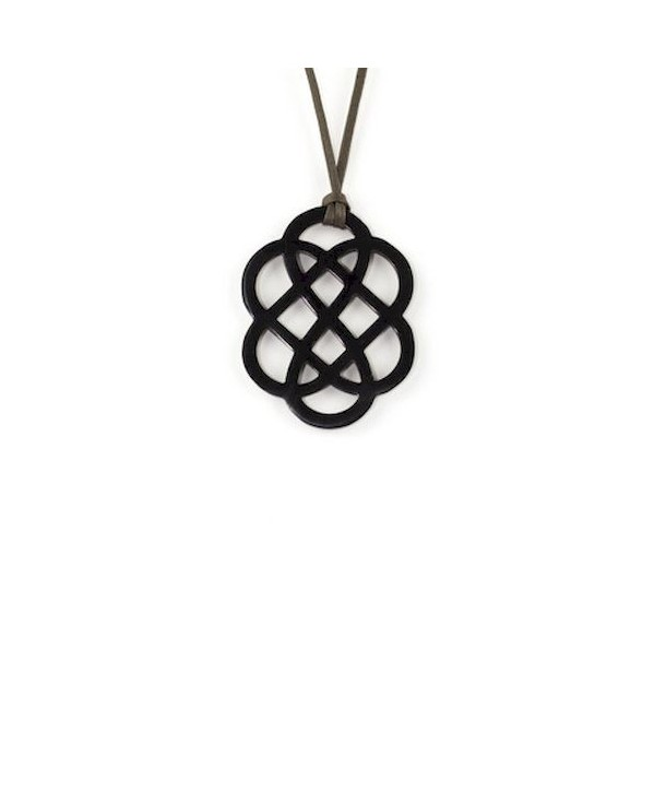 Flower pendant in plain black horn