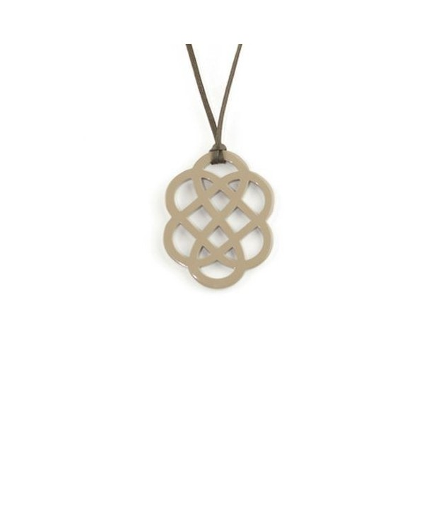 Cream coffee lacquered flower pendant