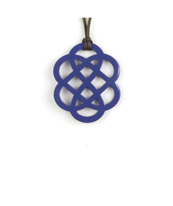 Pendentif fleur laqué bleu indigo