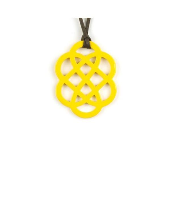 Pendentif fleur laqué jaune