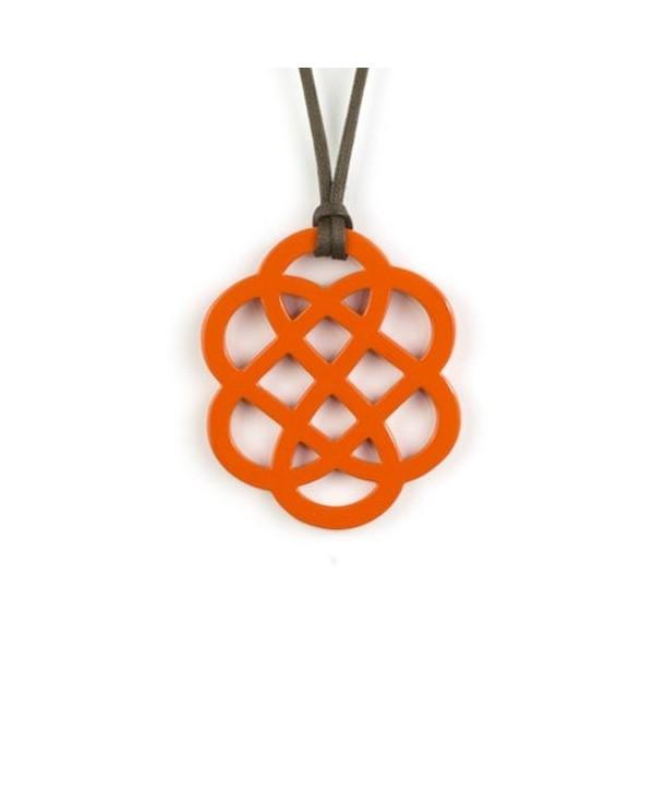 Orange lacquered flower pendant
