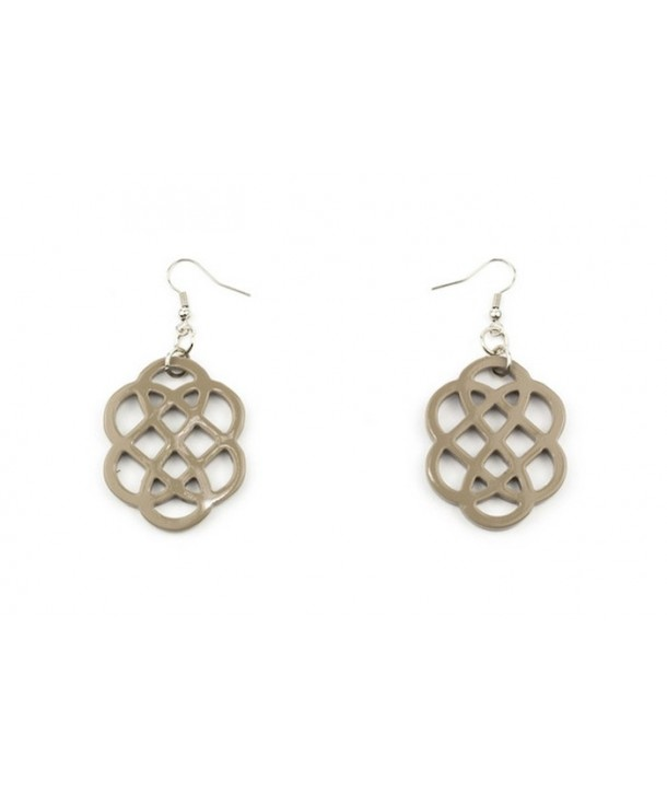 Cream coffee lacquered flower-shaped earrings
