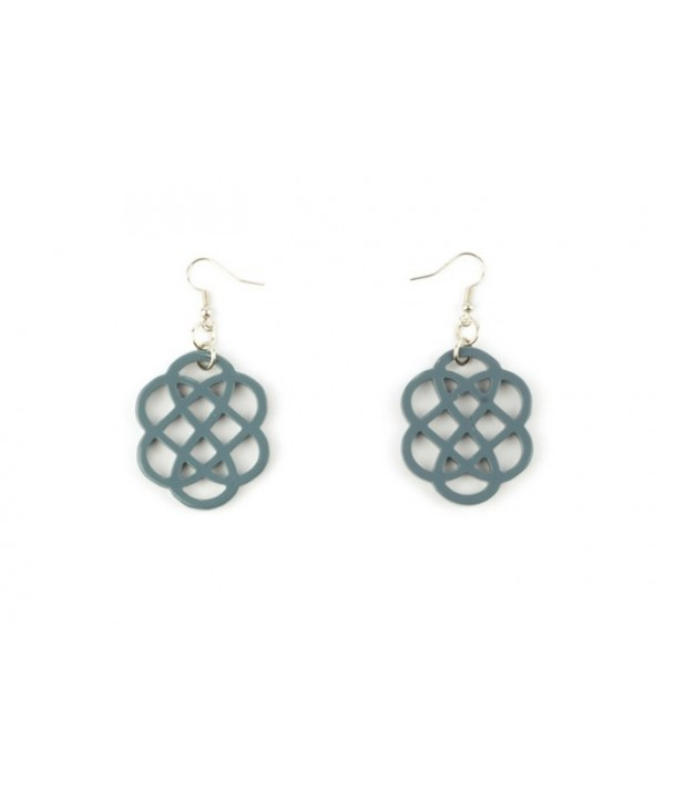 Gray-blue lacquered flower-shaped earrings