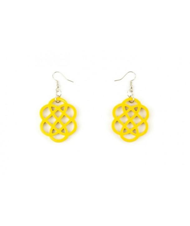 Boucles d'oreilles fleur laquées jaune