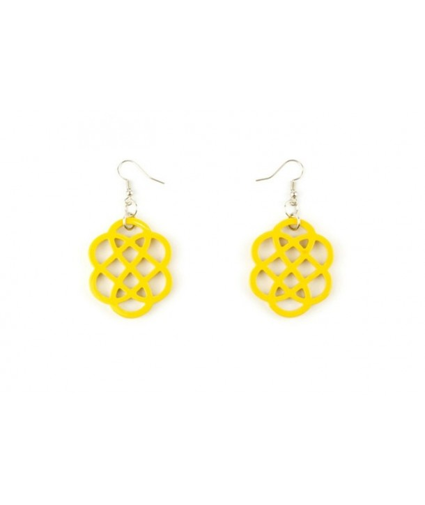 Yellow lacquered flower-shaped earrings
