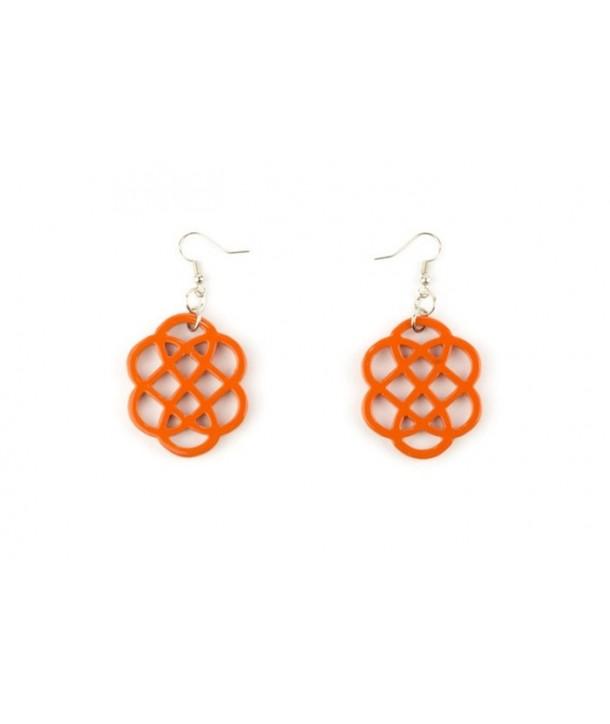 Orange lacquered flower-shaped earrings