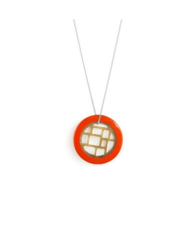 Orange lacquered checkered pendant with a chain
