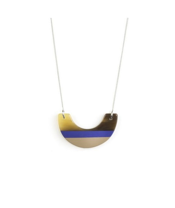 Indigo blue and cream coffee lacquered half-moon pendant with a chain