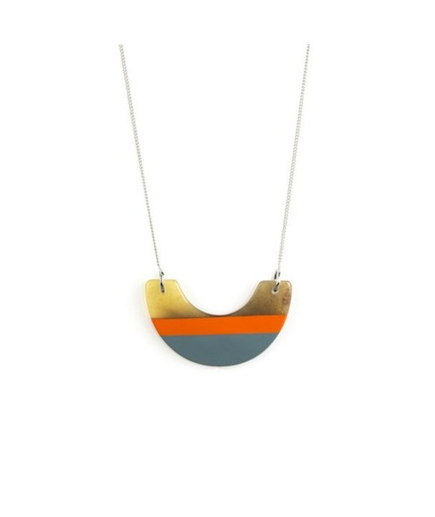 Orange and gray-blue lacquered half-moon pendant with a chain