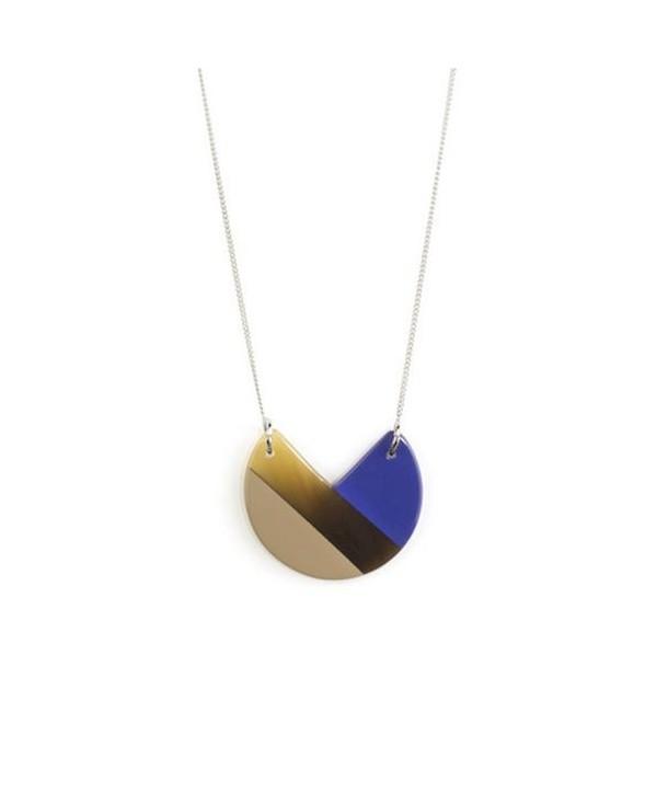 Indigo blue and cream coffee lacquered 3-quarter pendant with a chain