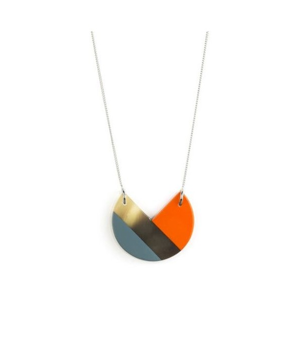 Orange and gray-blue lacquered 3-quarter pendant with a chain