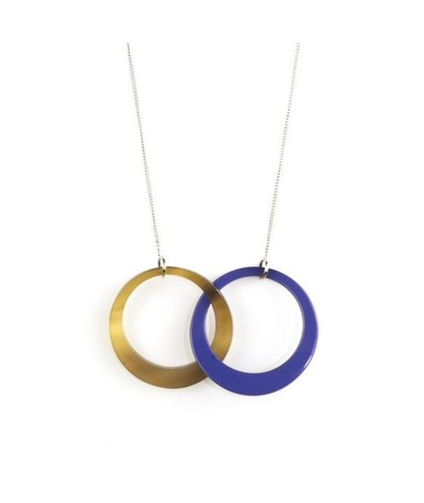 2 intertwined blue indigo rings pendant with a chain