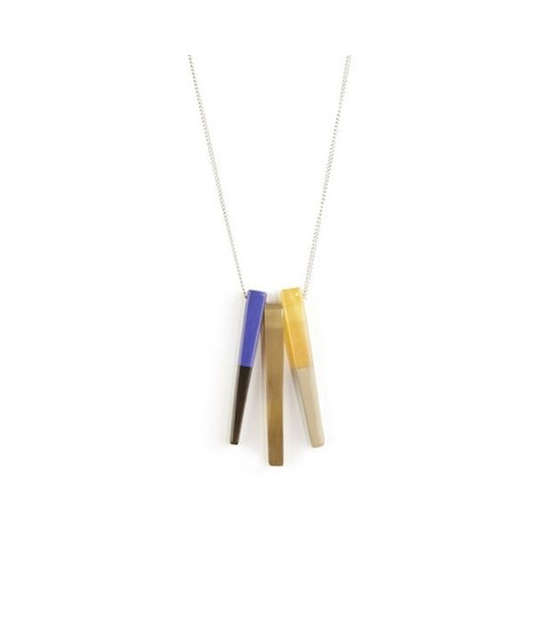 Indigo blue and cream coffee 3-claw pendant with a chain