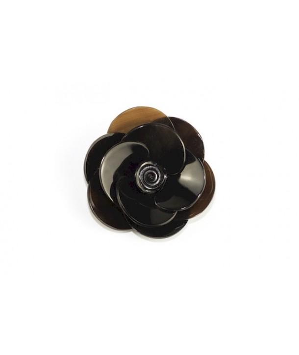 Flower brooch in plain black horn
