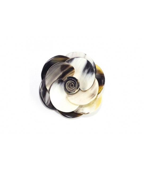 Flower brooch in marbled black horn