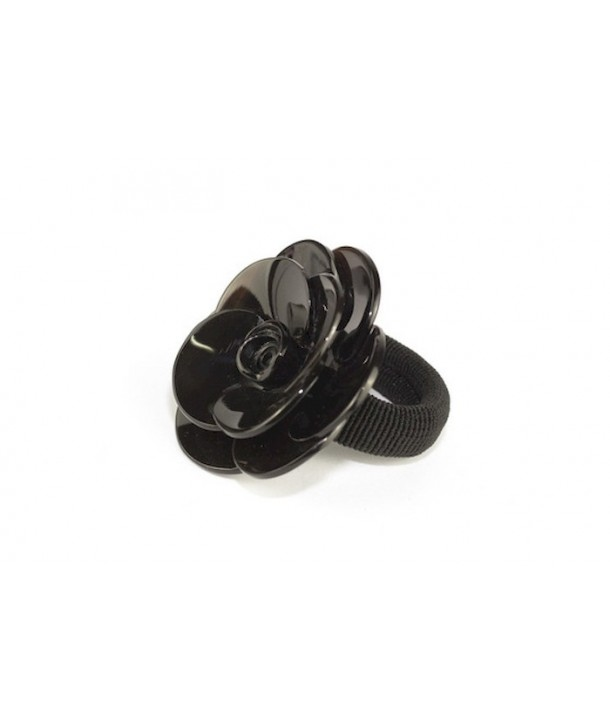 Camelia flower scrunchie in marbled black horn