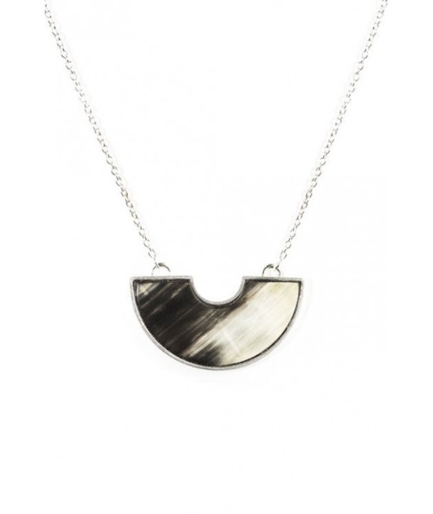 Crescent marbled black horn pendant set in silver and with a silver chain