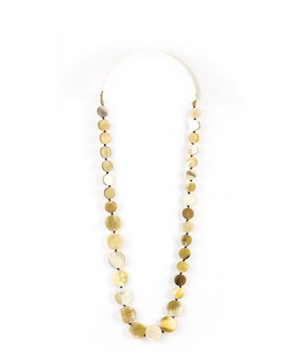 Pastilles long necklace in blond horn