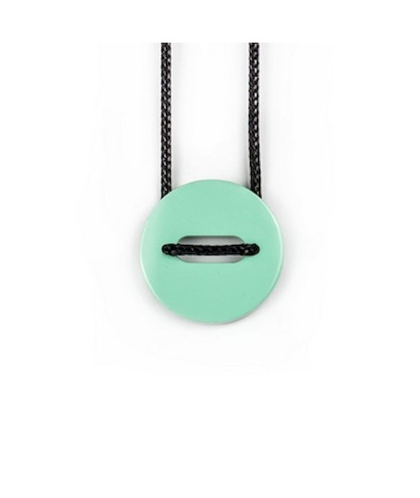 "Riz"" pendant in blond horn and mint lacquer"""