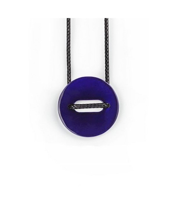 """Riz"""" pendant in blond horn and purple lacquer"""""""