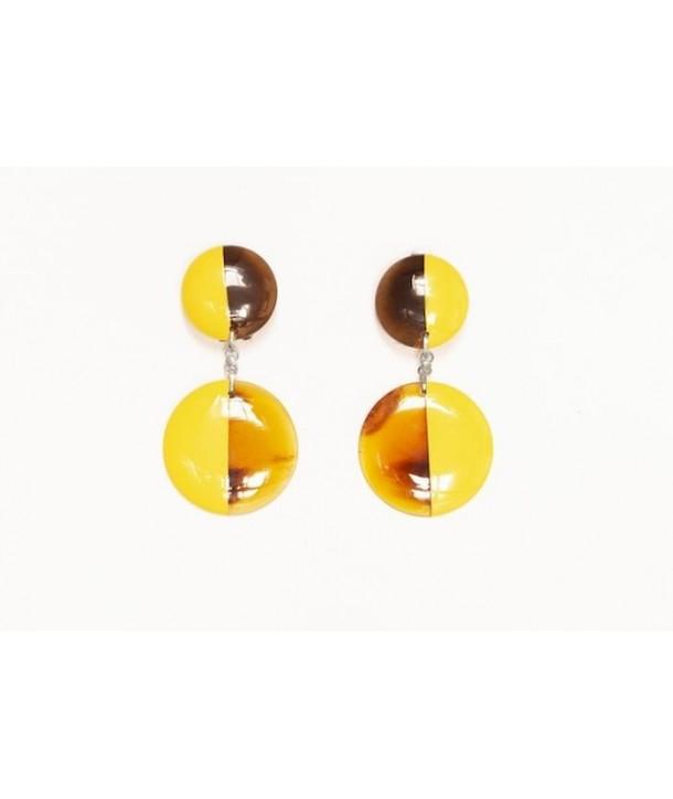 Boucle d'oreille clip double rond en sabot et laque jaune