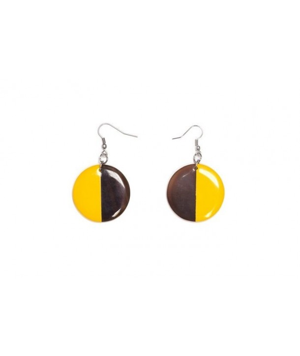Full disc yellow lacquered earrings