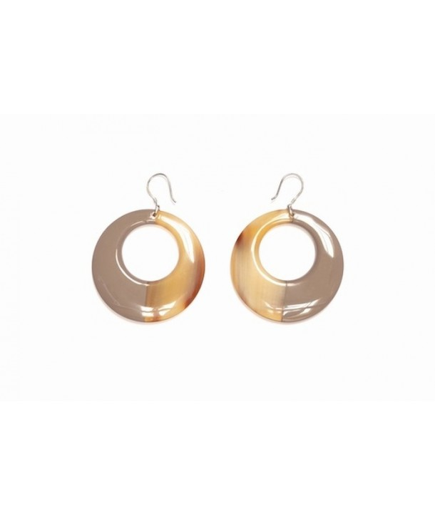 Cream coffee lacquered round earrings in hoof