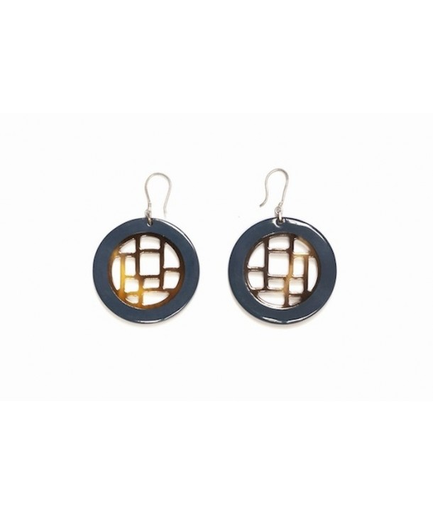 Gray blue lacquered checkered earrings