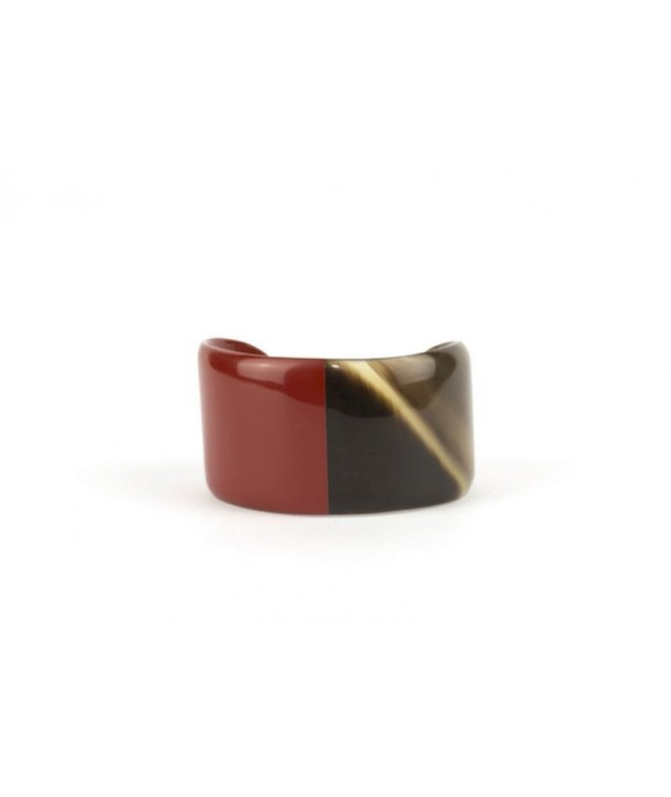 Wide red lacquered horn bracelet