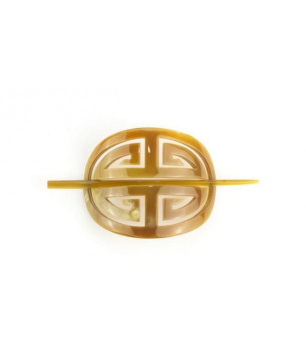 Cache chignon symbole longevité en corne blonde