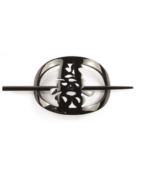Cache chignon hanh phuc en corne noire unie