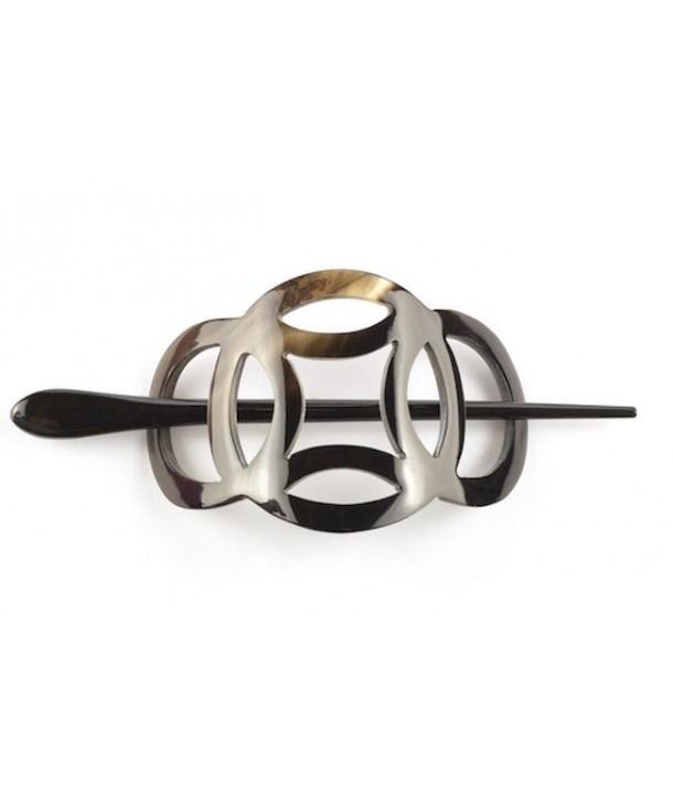 Cache chignon anneaux en corne noire unie