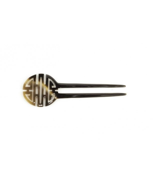 Double Long-life symbol hairpin in blond horn