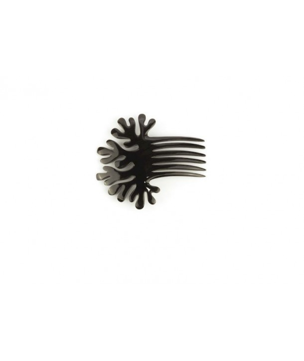 Coral-shaped comb hairpin in plain black horn