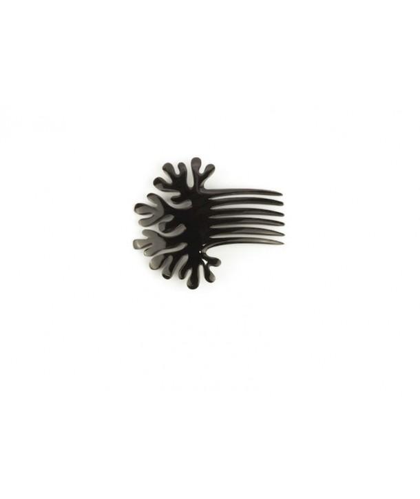 Pique àcheveux peigne corail en corne noire unie