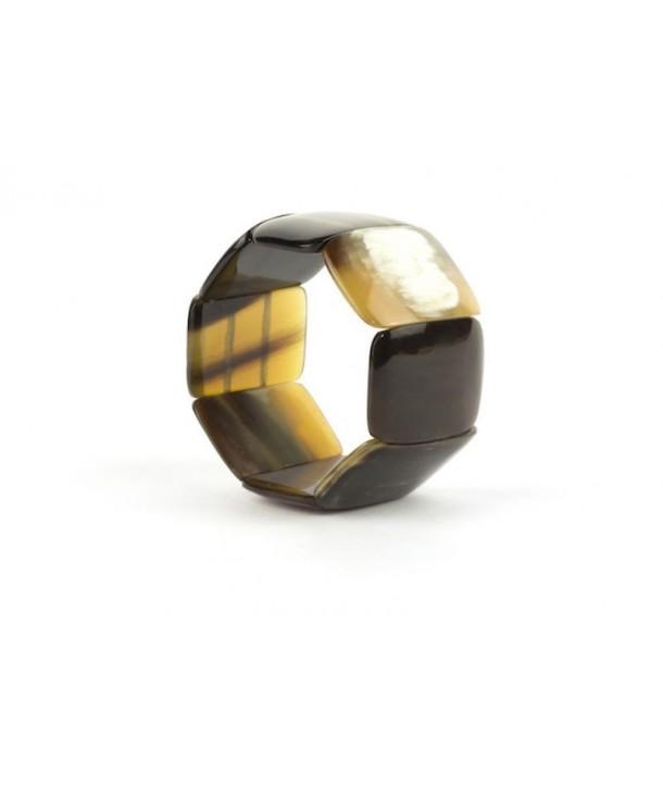 Bracelet articulé 8 grosses pièces en corne noire marbrée