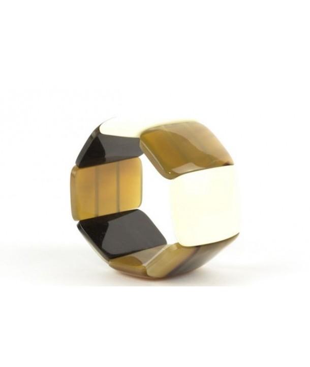 Bracelet articulé 8 grosses pièces en corne blonde et noire et laque ivoire