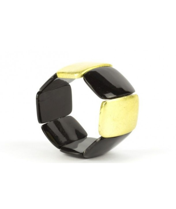 Bracelet articulé 8 grosses pièces en corne noire et laque or