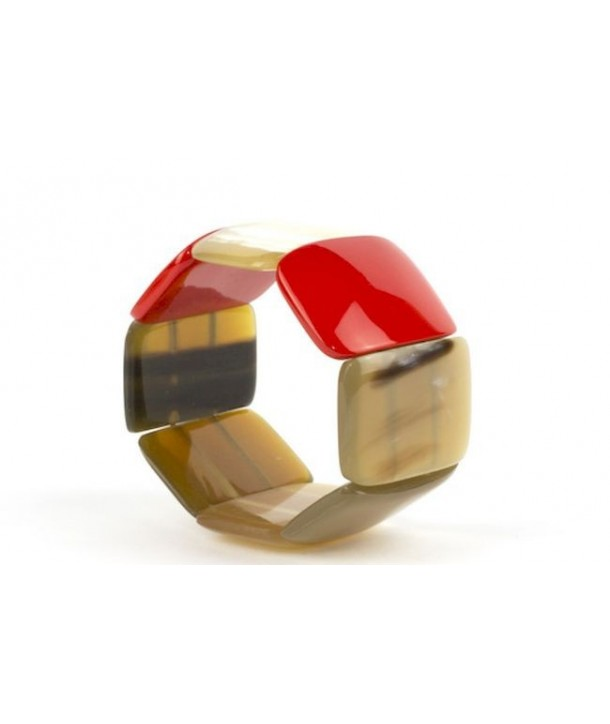 8 large piece articulated bracelet in black horn and red lacquer