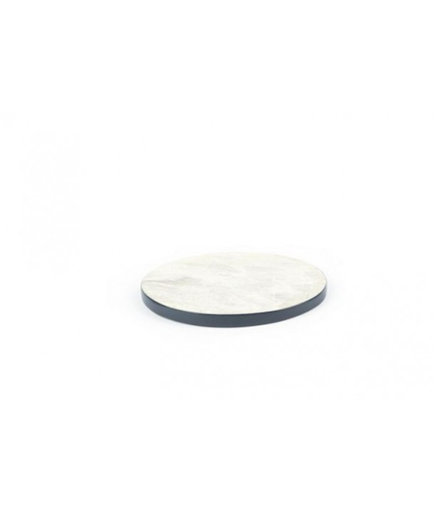 Set of 2 round lacquered edges bottle coasters in stone