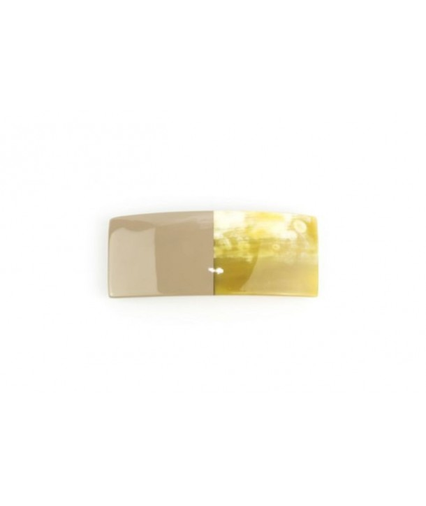 Rectangular barette in cream-coffee lacquered horn