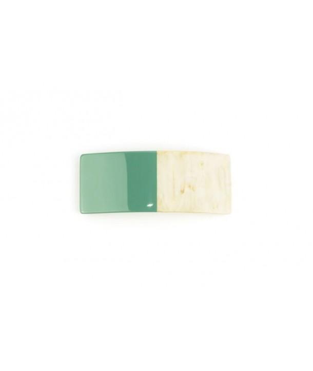Barrette rectangulaire en corne laquée vert émeraude