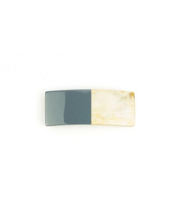 Barrette rectangulaire en corne laquée gris-bleu