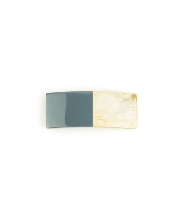 Rectangular barette in gray-blue lacquered horn