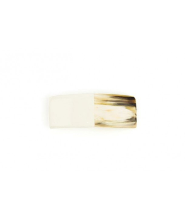 Barrette rectangulaire en corne laquée ivoire
